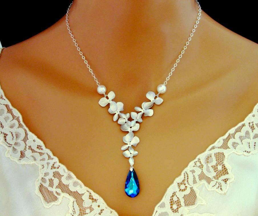 bermuda blue orchid necklace silver triple