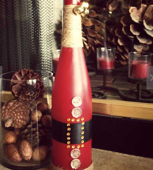 Easy-DIY-Christmas-Crafts-for-Kids-Santa-Wine-Bottle-Click-pic-for-45-Budget-Friendly-Holiday-Decor-Ideas